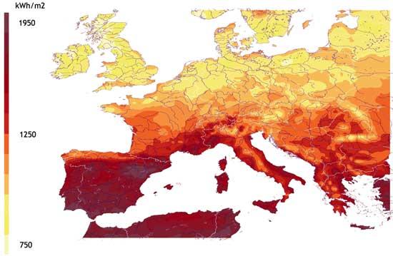 Beeső átlagos napsugárzási intenzitás eloszlás (1981-1990)